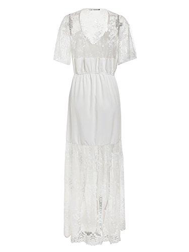 Trasparente Collo Maxi V Ricamo Lungo Elegante Di Vestito Vestito Bianco Berrygo Delle Donne Pizzo xvwTYEqE