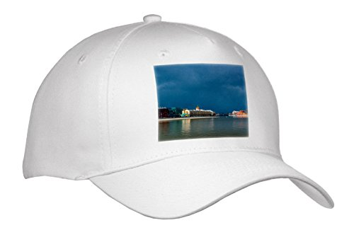 Alexis Photography - Moscow City - Moscow City - Storm Clouds Over The City, Calm Water Of The River - Caps - Adult Baseball Cap (River City Cap)