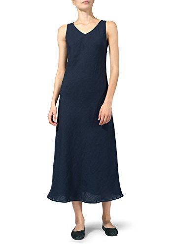 Vivid Linen Bias Cut Sleeveless Long Dress-XL-Denim Blue
