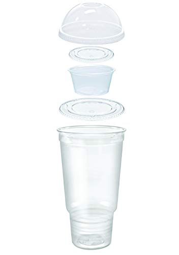 25 count Grab n' Go Parfait/Snack Cup, Includes Souffle Cup with Lid, and Dome Lid with Signature Party Picks (32 oz)