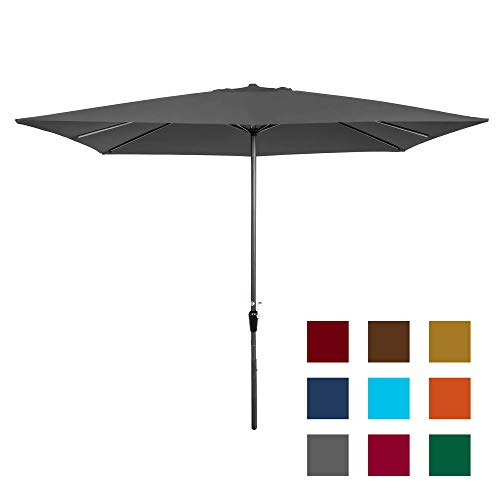 Best Choice Products 8x11ft Rectangular Patio Market Umbrella w/Rust-Resistant Frame, Hand Crank, Fade-Resistant 210G Polyester Fabric, and Wind Vent, Gray