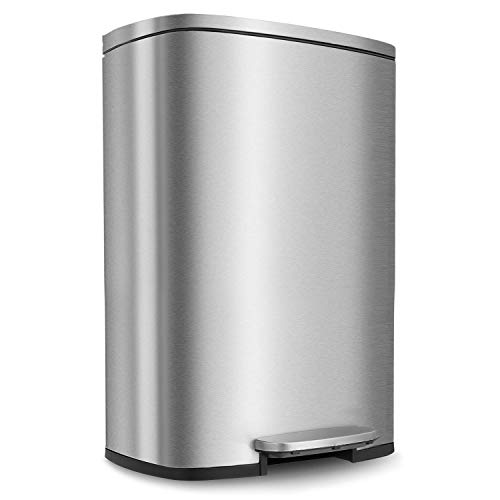 HEMBOR 13.2 Gallon(50L) Trash Can, Stainless Steel Rectangular Garbage Bin with Lid and Inner Bucket, Silent Gentle Open and Close Dustbin with Durable Pedal, Suit for Home Office Indoor Outdoor (Can Trash 13 Stainless Gallon)