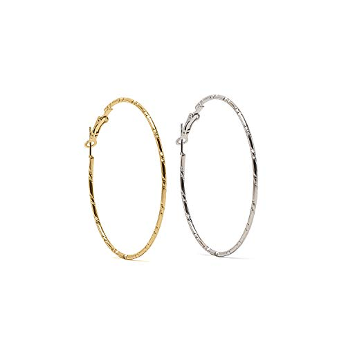 2 Pairs Fashion Rounded High Polished Lightweight and comfy Hoops Earrings for Womens Girls Sensitive Ears