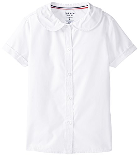 French Toast Big Girls' Short Sleeve Peter Pan Blouse, White, 10