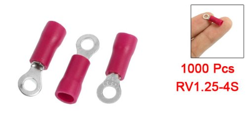 Sourcingmap 1000 Pcs RV1.25-4S Red PVC Sleeve Pre Insulated Ring Terminals Connector