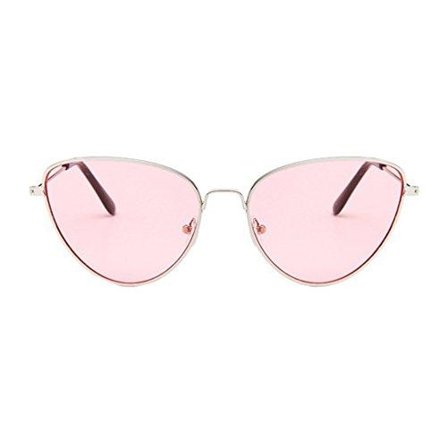 Colores LINNUO Unisex Mujer Hombres Pink Metal Marco de de Marco Retro Ojo Sol Sunglasses Gafas Gato Aviador Eyewear Plata de 66rdZqfaw