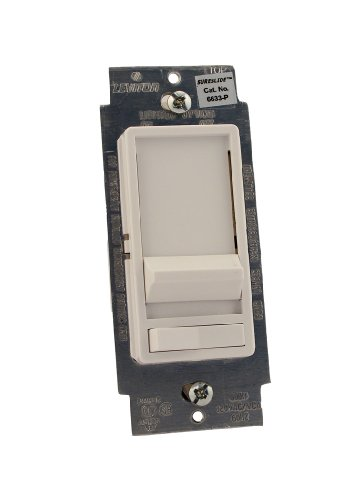 (Leviton 6633-PLW SureSlide 600W Preset Incandescent Dimmer, Single Pole or 3-Way, White)