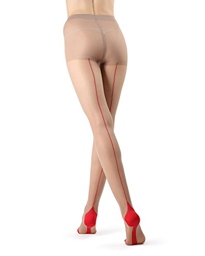 (MeMoi Cuban Heel Stocking | Seamed Pantyhose Nude/Red MM 618 Small)
