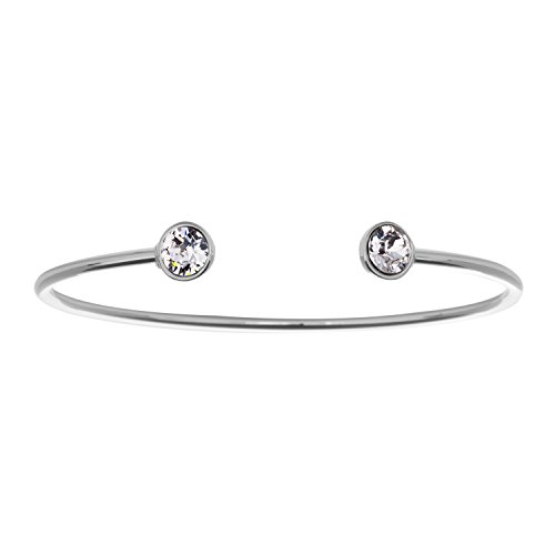 Clear Swarovski Crystal Bangle - Fine Silver Plated Open Bangle Bracelet with 12 Birthstone Color Options, Made with Swarovski Crystals