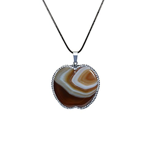ART KIM Pave Crystal Rhinetone by Hand Round Apple Agate Gemstone Pendant Necklaces - The Shoppes At Chino