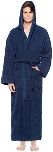 Arus Men's Hooded Classic Bathrobe Turkish Cotton Robe with Full Length Opt
