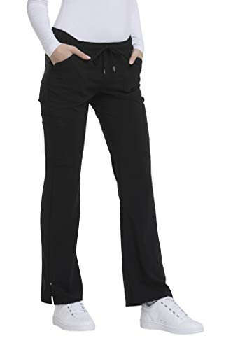 HeartSoul Love Always Women's Charmed Low Rise Drawstring Cargo Scrub Pant Large Petite Black