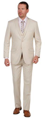 Tazio Mens Suit 2 Button 3 Piece Slim Fit Tan 40L (40l Mens 3 Piece Suit)