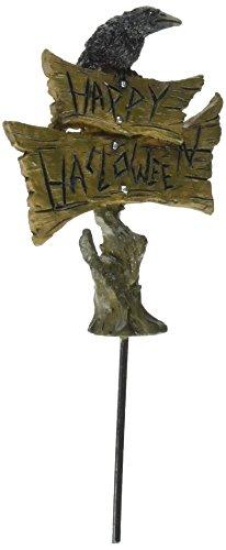 Happy Halloween Miniature Fairy Garden Stake with Black -