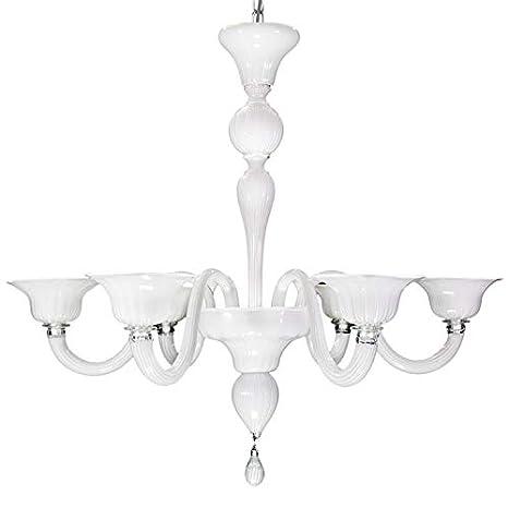 Lámpara de techo blanca de cristal moderno Murano color ...