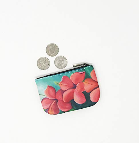 Coin Purse, Hibiscus Red Hawaiian Credit Card Business Card Holder, Jewelry Pouch