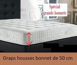 drap housse grand bonnet Bonde 50 cm satin 110 fils Drap housse 180x200 naturel: Amazon  drap housse grand bonnet