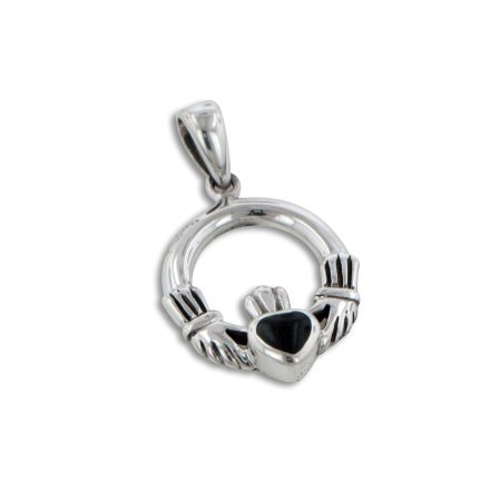 Inlay Sterling Silver Celtic Pendant - Small Sterling Silver Celtic Claddagh Black Onyx Inlay Heart Charm Pendant