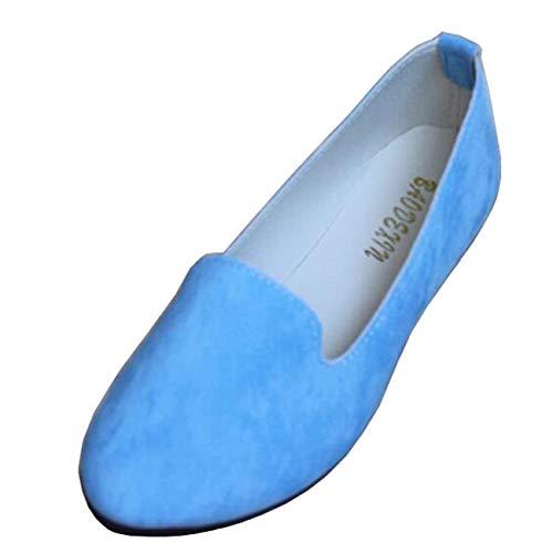 Pelle Punta 5 Ballerine Da on Shoe Slip colore Uk Blu In Scamosciata Piatta Moontang Dimensione Flat Donna A REqazwxnYf
