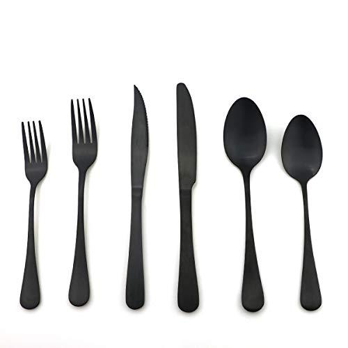 Uniturcky Stainless Steel With Titanium Matte Black Flatware Set,Steak Knife Cutlery Set Knife Fork Salad Fork Dessert Spoon 36-piece, Service for 6 (Luxury Matte Balck) (Dessert Knife Black)