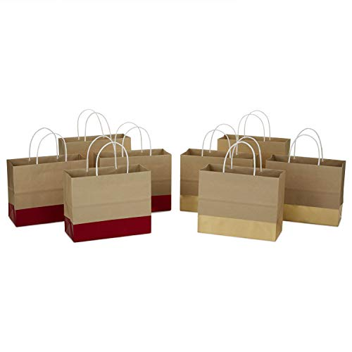 Hallmark 7″ Medium Christmas Gift Bags Assortment, Wide, (Pack of 8) Red and Gold Foil, Kraft Paper