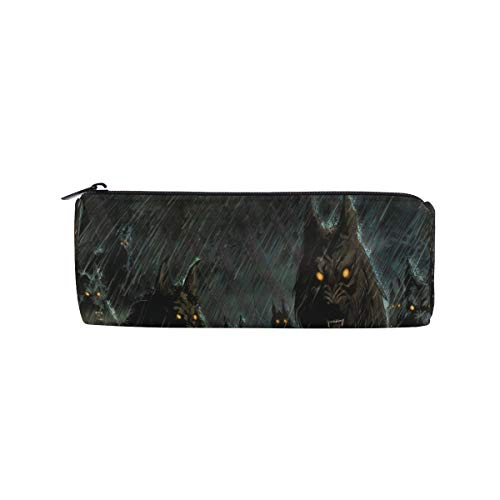 Pencil Case Halloween Hungry Wolf Zippered Pencil Box Round Stationery Bag Makeup Cosmetic Bag for Students/Women ()
