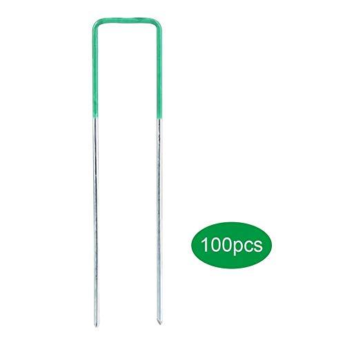 Staples U Pins,100pcs Half Green Artificial Grass Turf U Pins Metal Galvanised Pegs Staples Weed Gardening U Pins