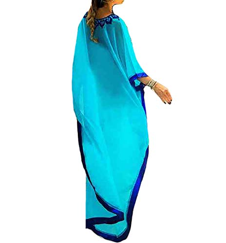 Bestyyou Women's Semi-Sheer Chiffon Long Caftan Lounger Printed Kaftan Dress Bathing Suit Bikini Swimsuit Cover Up Swimwear (Blue A)
