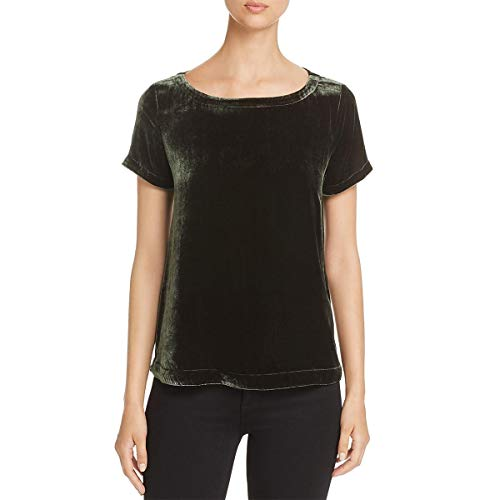 Eileen Fisher Womens Petites Silk Velvet Dress Top Green PS
