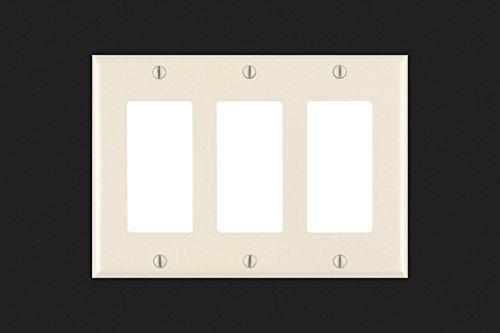 3 Decora Gang Leviton Nylon (Leviton 011-80411-00T Light Almond 3 Gang Decora Wall Plate)