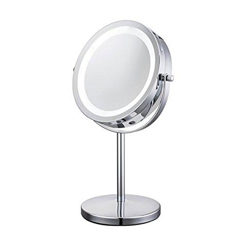 JEKING 360° Tisch Spiegel 1 /10-Fach Vergrößerung Doppelseitiger Schlafzimmer 7 Inch Kosmetikspiegel 20,5 * 13,5 * 31,5 cm / Chrom gebürstet / LED
