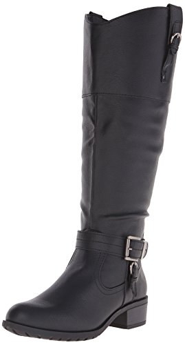 Rampage Women's Ivelia Fashion Knee High Casual Riding Boot, Black, 7 M (Ladies Black Fashion Boot)