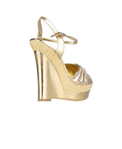 High Diamante KRISP Party Heel Shoes 3 Women Wedge Sandals Platform Gold Ladies Wedding 8 EpEqIwWZ