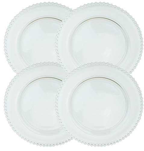 Clear Glass Charger 12.6 Inch Dinner Plate With Beaded Rim - Set of 4 - Clear (Clear Cheap Plates Glass)