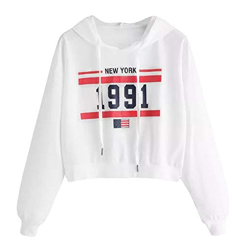 Boomboom Fashion Winter Teens Girls New York Printed Long Sleeve Short Sweatshirts White M
