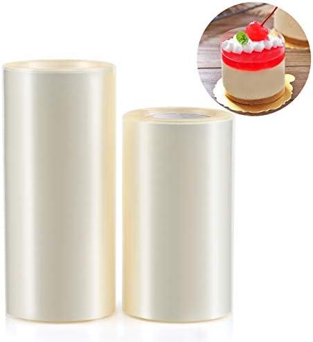 GWHOLE Lot de 2 Colliers à Gâteau 10M x 10CM et 10M x 8CM Rouleaux Rubans Transparents Cercle de Pâtissie pour Gâteaux Mousse