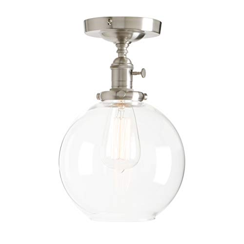 Permo Vintage Ceiling Light 1-Lights Pendant Lighting Chandelier with 7.9″ Globe Clear Glass (Brushed) For Sale