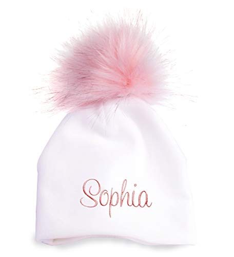 berry bebe Personalized Baby Hat for Girl or Boy Newborn Shower Gift, Soft Cotton or Velour Fabric and Pink or Gray Pom Pom (Pink, - Baby Hats Monogrammed