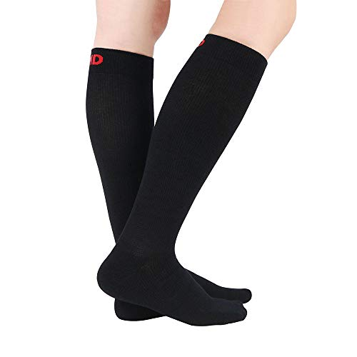 +MD 3 Pairs Bamboo Compression Socks (8-15mmHg) for Women & Men Moisture Wicking Support Stockings for Airplane Flights, Travel, Running, Athletic, Crossfit, Nurses, Edema, Varicose Veins 9-11 Black