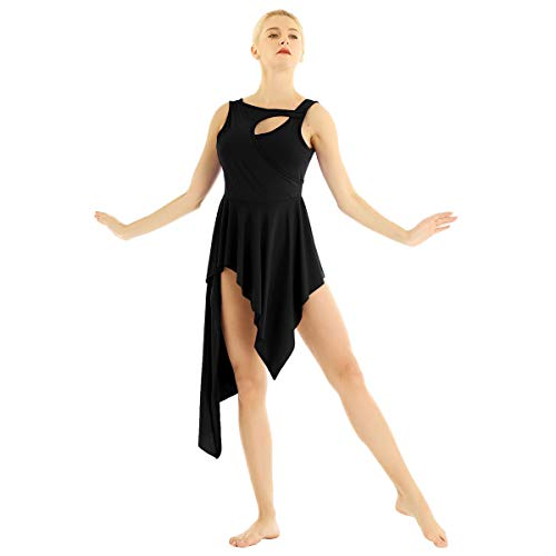 CHICTRY Women Crew Neck Lyrical Ballet High Low Dance Dress Leotard Costume Black Small
