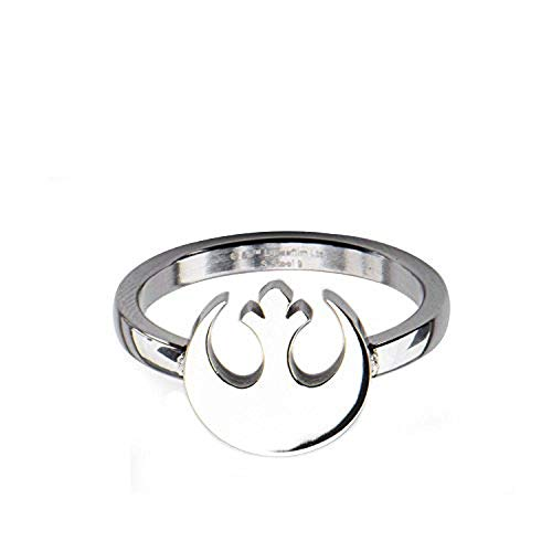 Star Wars Womens Stainless Steel Rebel Alliance Symbol Cut Out Ring Jewelry Box Included