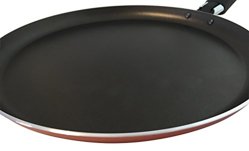 Large Crepe Pan 10 Inch Nonstick Coating and Bakelite Handle - Easy pancakes omelette fried eggs tortilla pancake pita bread Cookware - Best Crepes Pan Rounded Base durable by Maxi Nature Kitchenware (Image #3)
