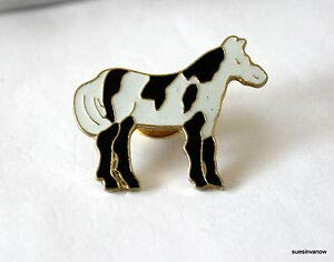 Pin for Backpacks - New Painted Horse Lapel Hat Pin Black White Animal Tie Tack Stallion Cowboy Wild - Accessories for Clothes