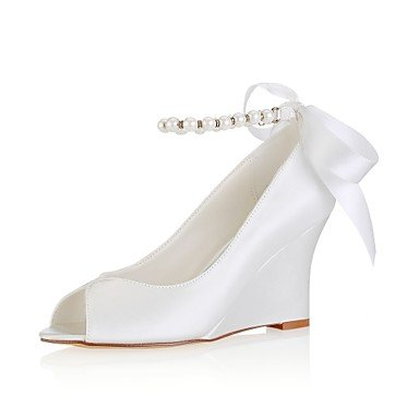 Wedge Spring Basic Shoes Satin Stretch 4U ivory Wedding for Wedding Toe Pearl Crystal Ivory Evening Heel Best Shoes Peep Women's Summer Pump Party 0cwXfq0PEd