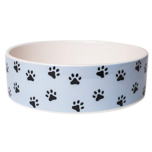 "Park Life Designs Medium Pet Bowl, Pawz Pattern, 6-1/2"" Heavyweight Ceramic Dish Stays Put, Chew-Proof, Microwave and Dishwasher Safe"