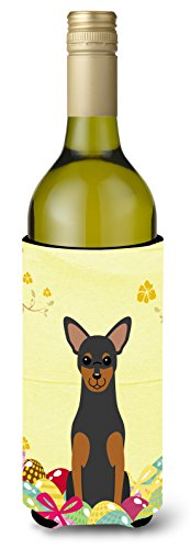 Caroline's Treasures BB6028LITERK Easter Eggs Manchester Terrier Wine Bottle Beverage Insulator Hugger, 750ml, Multicolor