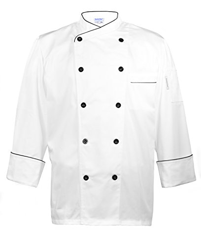 GenieChef Men's Long Sleeve Executive Chef Coat M White - Executive Chefs Jacket