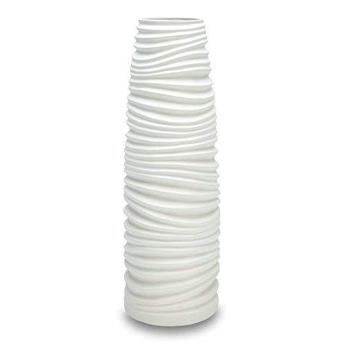 IMPULSE! Nordic Vase Medium White by (3713-1)-Ceramic Vase, Matte lacquered finish, ribbed pattern