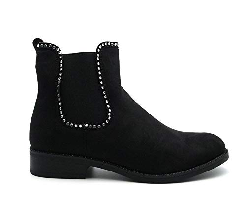 Low Womens Chunky Black Ladies Size Definitely Block Ankle Heel Boots Winter Diamante Shoes You Platform Chelsea nwfxxt