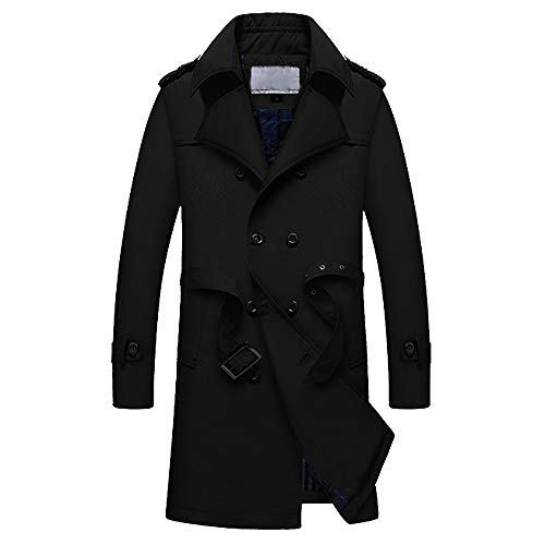 iHPH7 Men Winter Warm Jacket Overcoat Outwear Slim Long Trench Buttons Zipper Coat ()